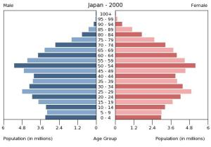 Japan Population Pyramid, 2000 (via U.S. Census)