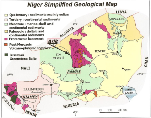 Simplified geologic map of Niger
