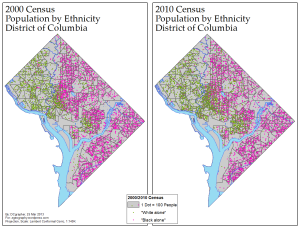 Dot Density of D.C.'s White and Black Communities, 2000/2010 (via ME!)