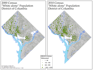 Concentration of D.C.'s Whites, 2000/2010 (via ME!)