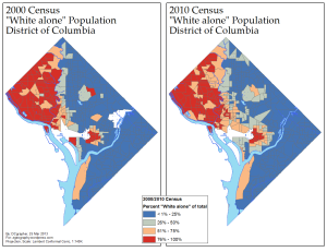 Proportion of D.C.'s White Population, 2000/2010 (via ME!)