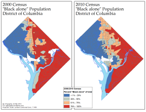 Proportion of D.C.'s Black Population, 2000/2010 (via ME!)