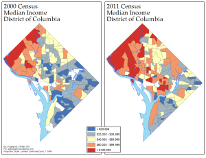 Median Income in D.C., 1999/2011 (via ME!)